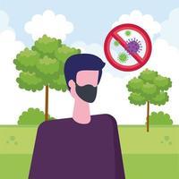 Hombre usando mascarilla con partículas covid 19 en señal prohibida vector
