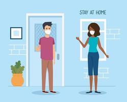 campaña estancia en casa con pareja vector