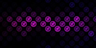 Patrón de vector rosa oscuro con elementos de coronavirus.