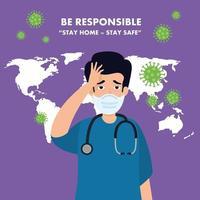 campaña de ser responsable quedarse en casa con paramédico preocupado vector