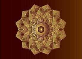 geometric islamic mandala golden arabesque mosaic vector