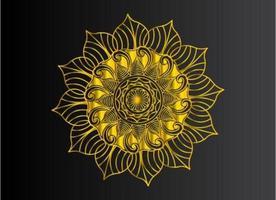 golden color gradient mandala of natural floral shape design vector