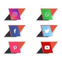 Social media logos and icons set vector