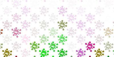 textura de vector rosa claro, verde con símbolos de enfermedades.