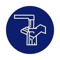lavado de manos con icono de estilo de bloque de grifo de agua
