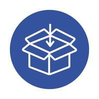 estilo de bloque de servicio de entrega de caja y flecha