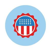 bandera de estados unidos estilo de bloque de marco circular vector