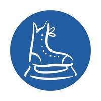 hockey skate block style icon vector