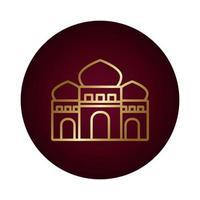 icono de estilo degradado de bloque de templo ramadam kareem vector