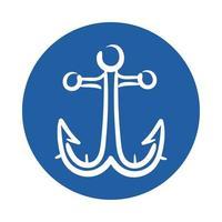 icono de estilo de bloque de ancla marina