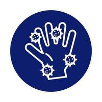 lavado de manos con icono de estilo de bloque de partículas covid19 vector