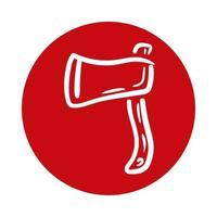 icono de estilo de bloque de arma de hacha vector