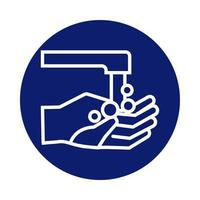 hands washing with faucet block style icon