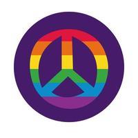 símbolo de paz con estilo de bloque de bandera del orgullo gay