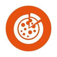 delicious pizza block style icon