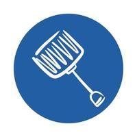 snow shovel block style icon vector