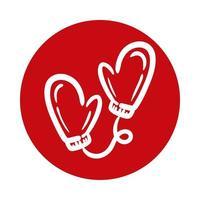 winter gloves block style icon