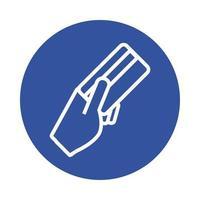 mano con estilo de bloque de comercio electrónico de tarjeta de crédito