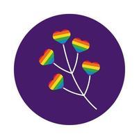 rama con corazones estilo de bloque de orgullo gay