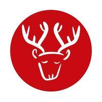 reindeer animal block style icon