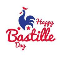 bastille day lettering with rooster hand draw style