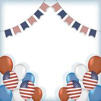 Usa balloons with banner pennant vector design