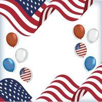 Estados Unidos banderas y globos diseño vectorial