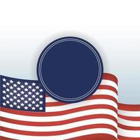 Bandera de Estados Unidos y diseño de vector de sello azul sello