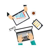 Hands on laptop and tablet with infographic vector design
