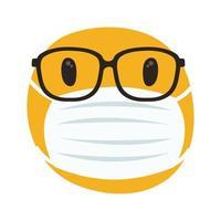emoji con máscara médica y anteojos estilo de dibujo a mano