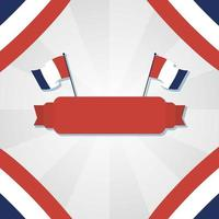 france flags and ribbon for happy bastille day vector design