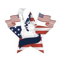 Estados Unidos banderas y estatua de la libertad dentro de diseño de vector de estrella
