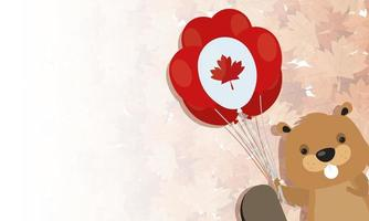 Canadian beaver with balloon for happy canada day vector design