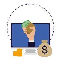 business online ecommerce in desktop with money