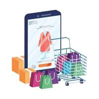 online ecommerce with smartphone and shopping cart