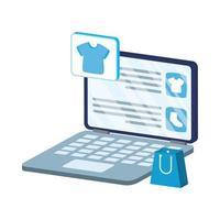 Comercio electrónico en línea en una computadora portátil con bolsa de compras y ropa. vector
