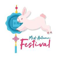 mid autumn festival card with rabbit and lace hanging flat style icon