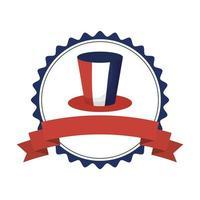 france hat inside stamp for happy bastille day vector design