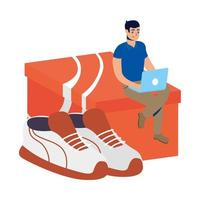online ecommerce with man using laptop buying tennis shoes vector