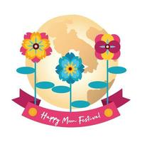 mid autumn festival card with moon and flowers flat style icon