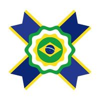 brazil flag seal stamp flat style icon