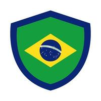 brazil flag in shield flat style icon vector