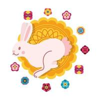 mid autumn festival card with rabbit and lace flat style icon