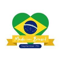 hecho en brasil banner con bandera en estilo plano de corazón vector