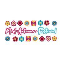 mid autumn festival card with lettering and flowers flat style icon