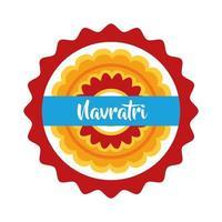 happy navratri celebration with decorative lace flat style vector