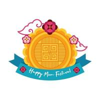 mid autumn festival card with seal lace flat style icon