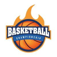 basketball tournament crest with basketball on fire vector