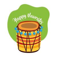 happy navratri celebration with drum instrument flat style vector