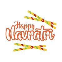 happy navratri celebration with chopsticks flat style vector